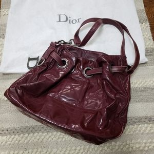 DIOR Burgundy Cannage Leather Shoulder Bag